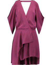 Michelle Mason - Purple Cold-shoulder Silk Mini Dress - Lyst