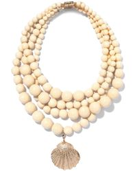 Rosantica - Metallic Hammered Gold-tone Beaded Necklace - Lyst