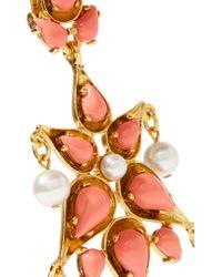 Oscar de la Renta | Metallic Gold-tone Cabochon And Faux Pearl Clip Earrings | Lyst