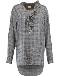 DKNY Blue Ruffle-trimmed Checked Voile Shirt