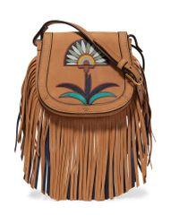 Tory Burch Brown Lilium Mini Fringed Appliquéd Leather Shoulder Bag
