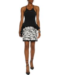 Giambattista Valli - Black Fluted Bow-embellished Ribbed Stretch-wool Tank - Lyst