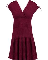 Maje - Purple Wrap-effect Cloqué Mini Dress - Lyst