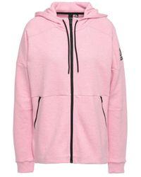 Adidas Mélange Printed Cotton-blend Jersey Hoodie Baby Pink