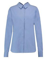 MSGM Blue Open-back Cotton-blend Shirt