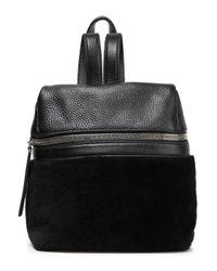 Kara Paneled Shearling And Pebbled-leather Backpack Black
