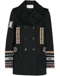 Valentino Double-breasted Bead-embellished Cotton-twill Jacket Black