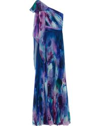 Marchesa notte One-shoulder Pleated Tie-dyed Chiffon Gown Royal Blue