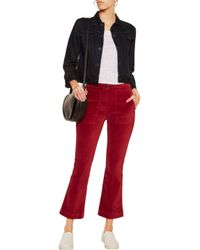 3x1 Red Cropped Velvet Bootcut Pants