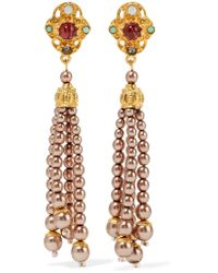 Ben-Amun - Metallic Gold-plated Faux Pearl, Bead, Crystal And Stone Earrings - Lyst