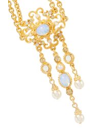 Ben-Amun - Metallic Gold-plated Stone, Crystal And Faux Pearl Necklace - Lyst