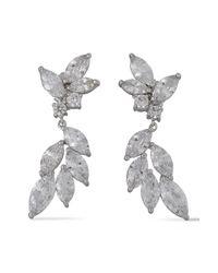 CZ by Kenneth Jay Lane Metallic Silver-tone Crystal Earrings