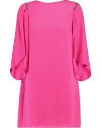 Halston Heritage Pink Chain-embellished Crepe Mini Dress