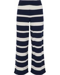 Max Mara Blue Califfo Cropped Striped Stretch-knit Wide-leg Pants