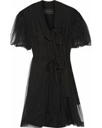 Simone Rocha Black Tulle And Crepe Wrap Dress
