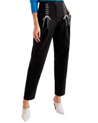 Tibi Black Easron Lace-up Cotton-blend Tapered Pants