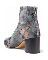 Rag & Bone Printed Velvet Ankle Boots Gray