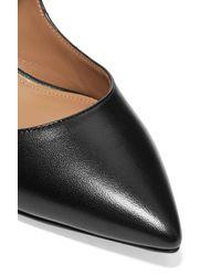 Aquazzura Faux Pearl-embellished Leather Pumps Black