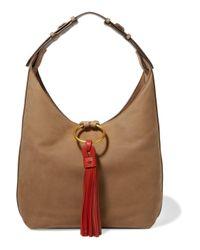 Tory Burch Brown Tasseled Leather Shoulder Bag