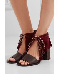 See By Chloé Multicolor Fringed Suede And Leather Sandals