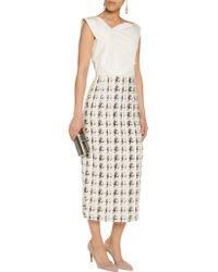 Nina Ricci - White Checked Fil Coupé And Cotton-blend Dress - Lyst