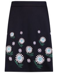Markus Lupfer Blue Knee Length Skirt