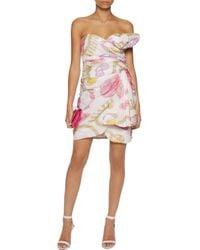 Moschino Pink Strapless Draped Printed Silk-georgette Mini Dress