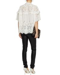 IRO White Lace-up Broderie Anglaise Cotton-poplin Top