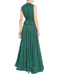 Lanvin Green Gathered Cotton-blend Lace Gown Emerald