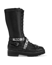Moschino - Black Embellished Textured-leather - Lyst