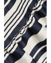 RED Valentino - Blue Ruffled Striped Faille Skirt - Lyst