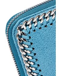 Stella McCartney Blue Chain-trimmed Faux Brushed-leather Continental Wallet