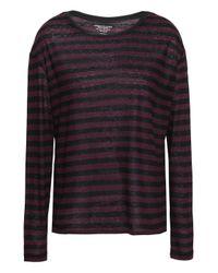 Majestic Filatures Multicolor Striped Slub Cotton And Cashmere-blend Top Burgundy
