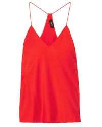 Theory Red Silk-satin Camisole