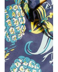 Anna Sui - Blue Printed Crepe De Chine Mini Dress - Lyst