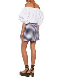 MSGM Blue Gingham Cotton-blend Mini Skirt