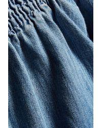 Current/Elliott - Blue Madeline Off-the-shoulder Cotton-chambray Mini Dress - Lyst