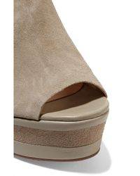 Schutz Morlen Leather-trimmed Suede Wedge Sandals Light Gray
