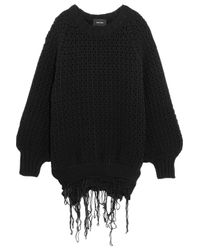 Simone Rocha Black Fringed Cable-knit Wool Sweater