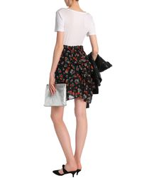 Maje Woman Ruffled Floral-print Georgette Mini Skirt Black