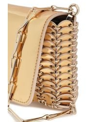 Paco Rabanne Metallic Woman Embellished Mirrored Faux Patent-leather Clutch Gold