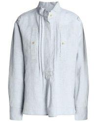 Isabel Marant Pintucked Wool And Linen-blend Turtleneck Blouse Light Gray