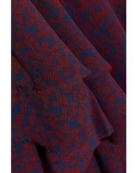 IRO Purple Woman Granby Wrap-effect Printed Crepe De Chine Midi Dress Burgundy