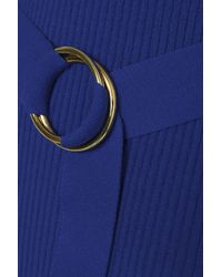 Diane von Furstenberg Blue Belted Ribbed Cotton-blend Midi Dress