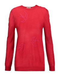 Nina Ricci Embroidered Open-knit Sweater