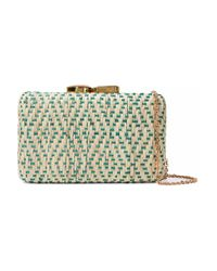 Kayu Multicolor Embellished Woven Straw Clutch