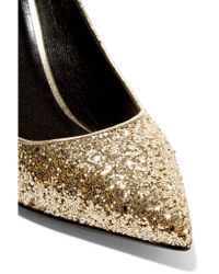 Saint Laurent - Metallic Glittered Leather Pumps - Lyst