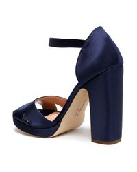 Rupert Sanderson Blue Satin Sandals Navy