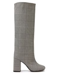 MM6 by Maison Martin Margiela Prince Of Wales Checked Wool-blend Knee Boots Black