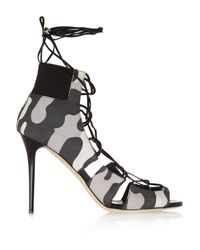 Jimmy Choo - Gray Myrtle Camouflage-print Nubuck Sandals - Lyst